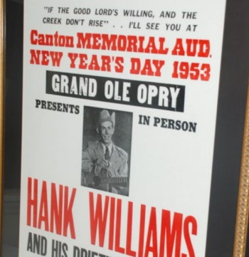 This commemorative poster of the concert Hank Williams never made it to is among dozens of items up for auction in the Zeek Rewards Ponzi scheme case.
