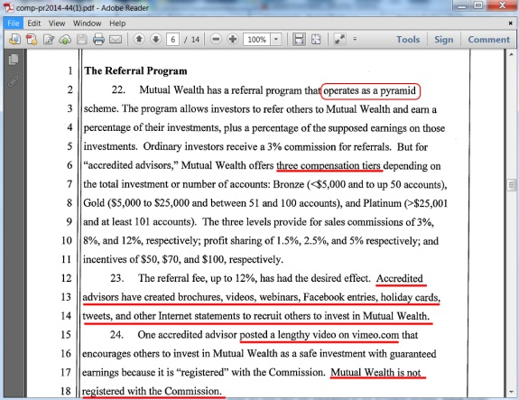 Screen stot of section of SEC complaint alleging that Mutual Wealth is a pyramid scheme. Red highlights by PP Blog.