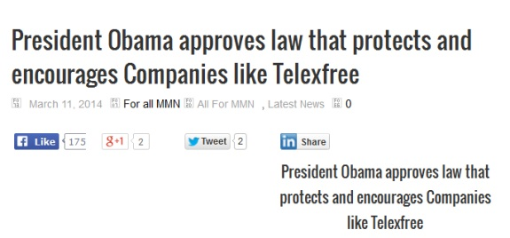 """From a Blog leading dubious cheers for the TelexFree MLM """"program."""""""