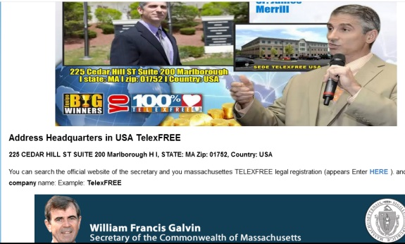 A TelexFree promoter who also promoted WCM777 plants the seed that Massachusetts Commonwealth Secretary William Galvin endorsed TelexFree. Galvin's office is investigating TelexFre after previously booting WCM from the state.