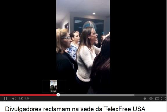 "TelexFree members at the ""corporate"" broom closet in Marborough, Mass, yesterday."