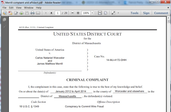 screen shot of part of criminal complaint filed today - Criminal Research Specialist