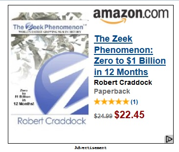 This ad for Zeek figure Robert Craddock's new book appeared on the Drudge Report today. Source: Screen shot.