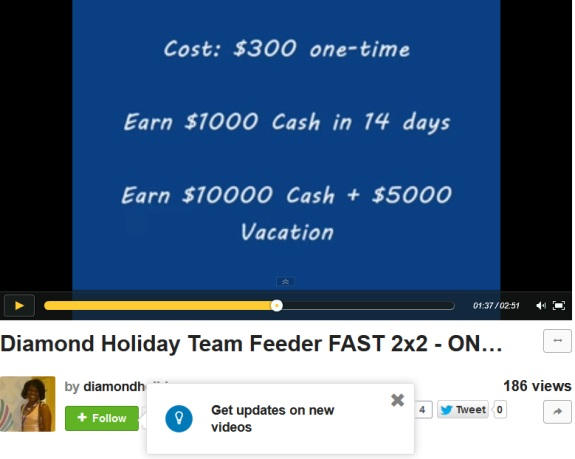 "More than two minutes and forty seconds of a special version of ""I Gotta Feeling"" recorded by the Black Eyed Peas to honor Oprah Winfrey plays in this ""team"" promo for a matric-cycler ""program"" known as ""Diamond Holiday Feeder."" Neither the group nor Winfrey is credited."