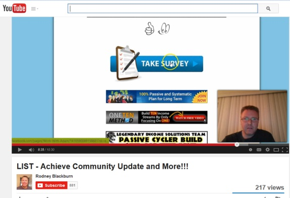 A link to Facebook flashes on the screen in a YouTube promo for Achieve Community, Unison Wealth and LIST. Rodney Blackburn assures viewers that all is OK with Achieve, but then appears to take back his remarks.