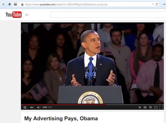 """On April 2, a video depicting President Obama as a fan of the MyAdvertisingPays """"program"""" appeared on YouTube. An """"Obama voice"""" was dubbed into the video. Text below the video reads, """"Mr. President speaks about the new advertising revolution."""""""