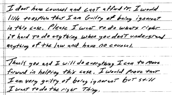 "In a letter to a U.S. Magistrate Judge, Troy Barnes of ""The Achieve Community"" claims he is ignorant and will prove it."