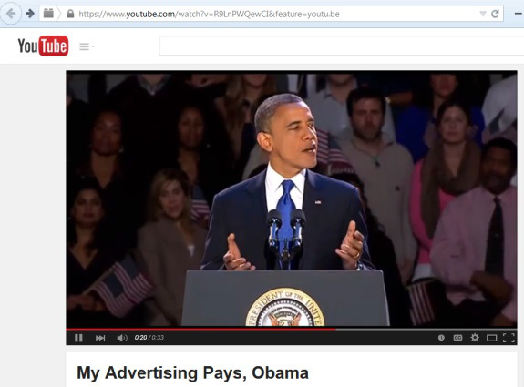 "From PP Blog archives: On April 2, a video depicting President Obama as a fan of the MyAdvertisingPays ""program"" appeared on YouTube. An ""Obama voice"" was dubbed into the video, which also shows the Presidential Seal. Text below the video reads, ""Mr. President speaks about the new advertising revolution."""
