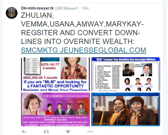 A Jeunesse rep may be using Twitter in a bid to raid downlines of other MLMers.