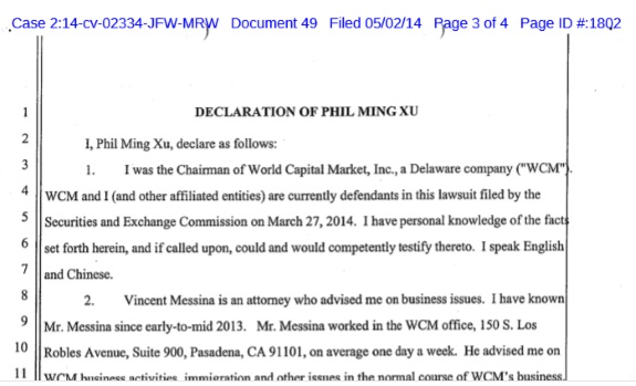 The opening of a Phil Ming Xu declaration originally filed under seal in April 2014. The seal was lifted at the request of an investor and after federal prosecutors did not object.