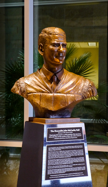 Judge Roll is memorialized in this bust at the federal courthouse in Tucson. The courthouse in Yuma is named after him and also includes a bust. Image source: Ninth Circuit Public Information Office.