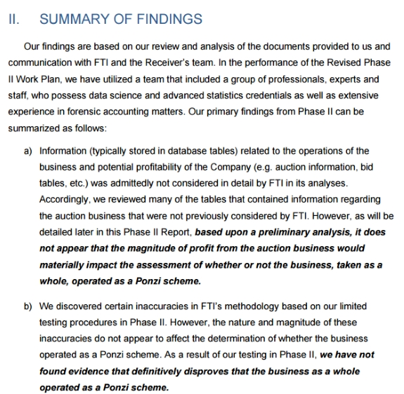 Berkeley Research Group, an expert working for the defense in Zeek clawback litigation,has not been able to disprove the presence of a Ponzi scheme. Source: Screen shot of a Berkeley report to Senior U.S. District Judge Graham C. Mullen Jr. The report is dated May 26, 2016.