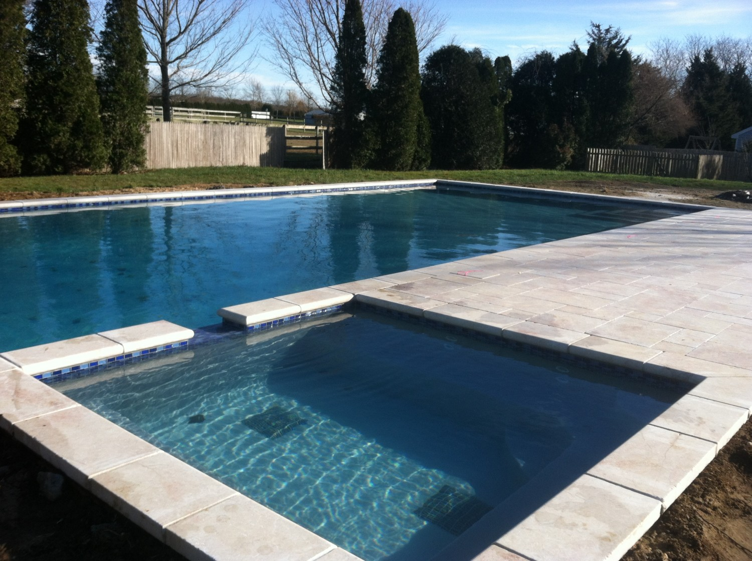 Pool  Spillover Spa With Marble in Suffolk County