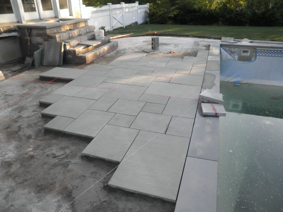 Bluestone Patio  Pool Renovation in East Quogue