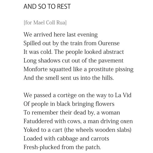 And So To Rest by Patrick Stack - first two stanzas