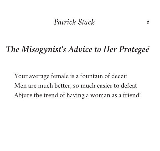 The Misogynist's Advice to Her Protegée by Patrick Stack