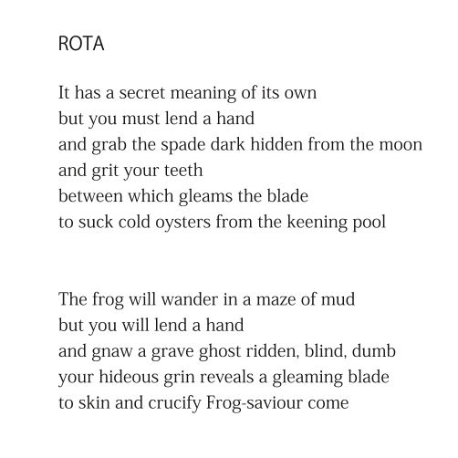ROTA (first two stanzas) by Patrick Stack