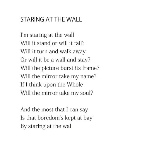 Staring at the Wall (excerpt) by Patrick Stack