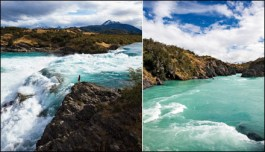 Left: The confluence of the Rio Baker and the Rio Nef. Right: The mighty Baker, which can flood at up to 120,000 cubic feet per second Photographs by Michael Hanson