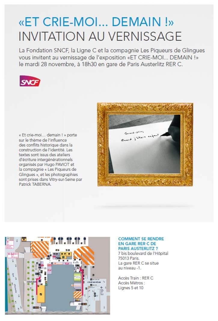 Vernissage «Et crie-moi…Demain», gare RER Austerlitz Mardi 28 novembre