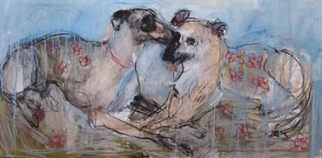 Domestic Dogs 120x60cm mixed media on board ©2013