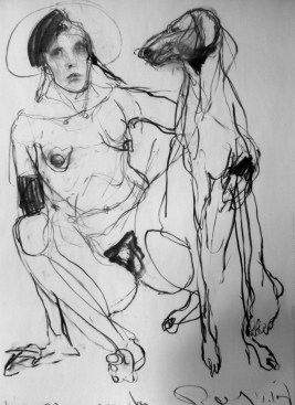 Woman with Dog (sold) 190x110 charcoal on paper ©2012