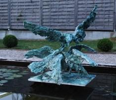 Group of 4 ravens 95 x 110 cm 1/8 bronze