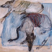 Domestic Dogs 140x130cm mixed media on board ©2013