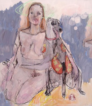Woman with Dog Mixed media 160x100cm ©2015