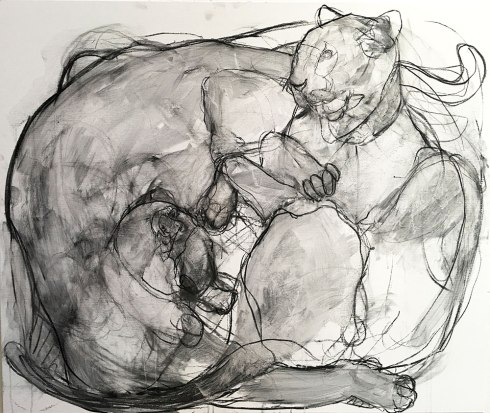Two Panthers (sold) Charcoal on canvas 140x122cm ©2016