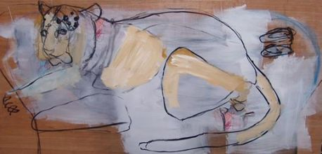 Panther 126x57cm mixed media on board ©2013