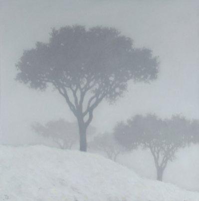 TSpierenburg Pins dans la neige Oil on canvas 100x100cm