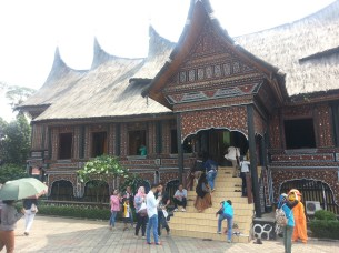 A huge, traditional West Sumatran house (shared by several families)