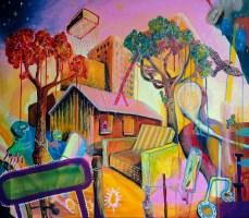 Die Freude ist ungebrochen, 2015 (Vendo: A banda passar cantando coisas de amor!) 80 x 70 cm Mixedmedia, Canvas patrikmuchenberger.com