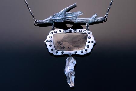 Metal Clay Narrative Frame Pendant by Patrik Kusek
