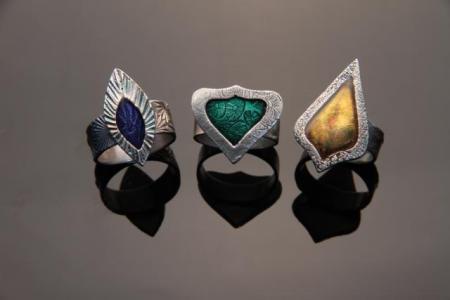 Metal Clay Frame and resin rings by Patrik Kusek