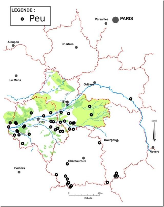 Toponymes Peu en Région Centre