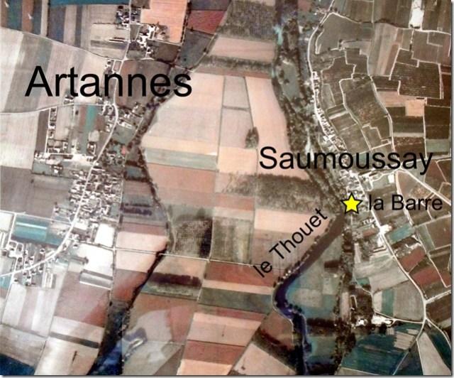 Artannes et Saumoussay en vue aérienne