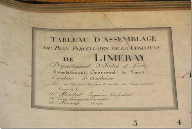 Cadastre napoléonien de Limeray (37), le cartouche