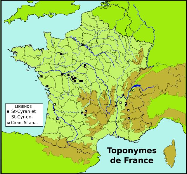 Cartographie des Saint-Cyran et Ciran...