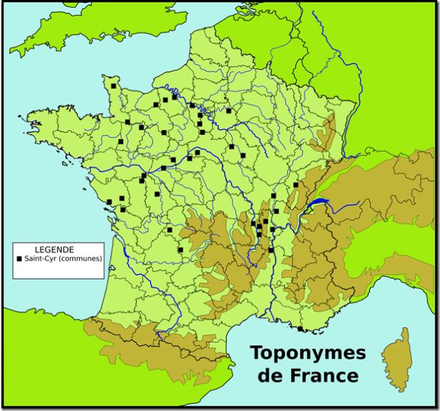 Toponymes Saint-Cyr (communes)