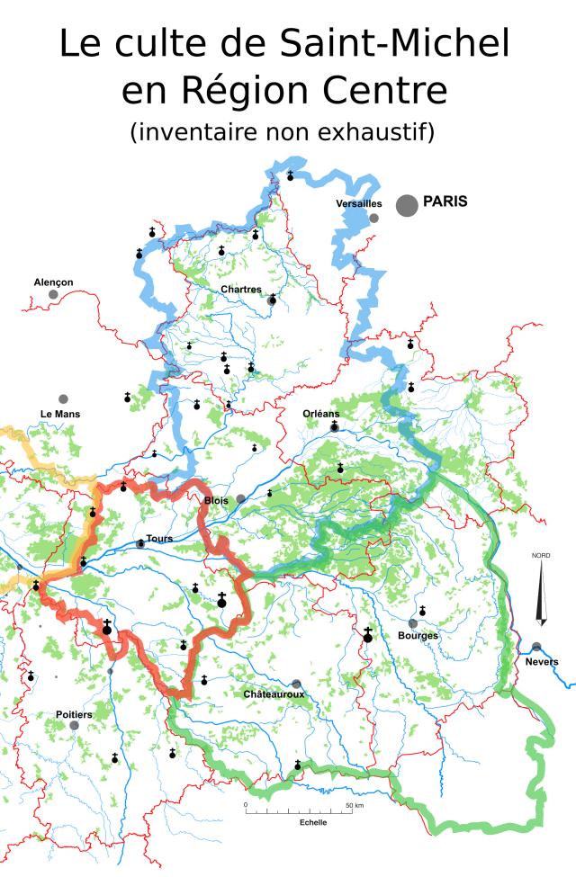 Culte de Saint-Michel et frontières antiques (carte muette)