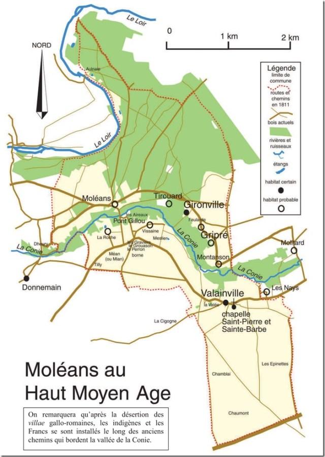 Moléans au Haut-Moyen-Age - Carte d'enquête pour le Haut-Moyen-Age