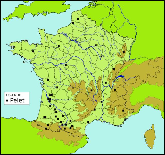 Les toponymes Pelet en France