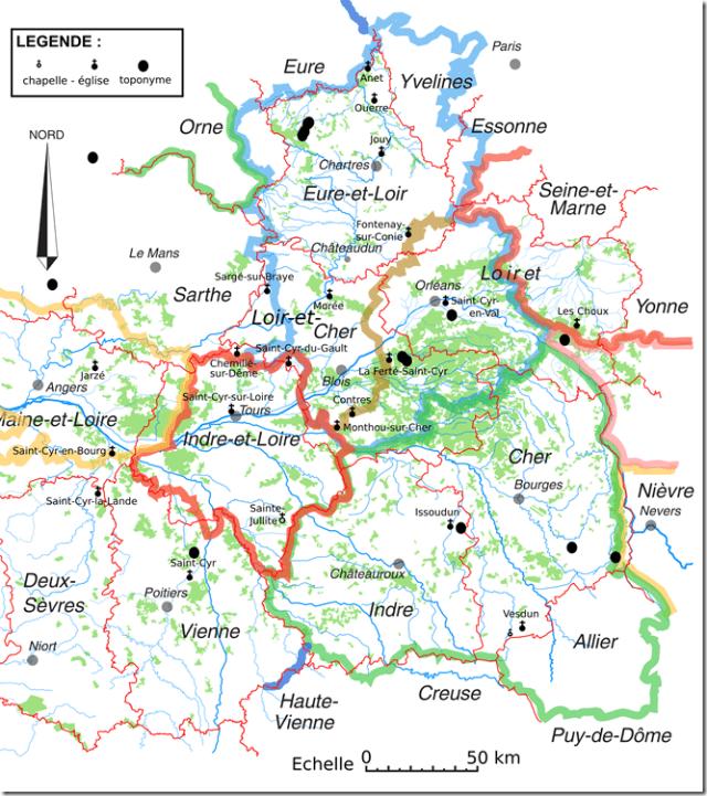Les toponymes et les églises et chapelles Saint-Cyr en Région Centre et aux environs