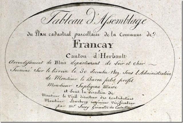 Cartouche du tableau d'assemblage du cadastre ancien de Françay (41)