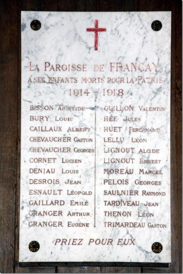 Plaque commémorative du bourg de Françay, au sein de son église Notre-Dame