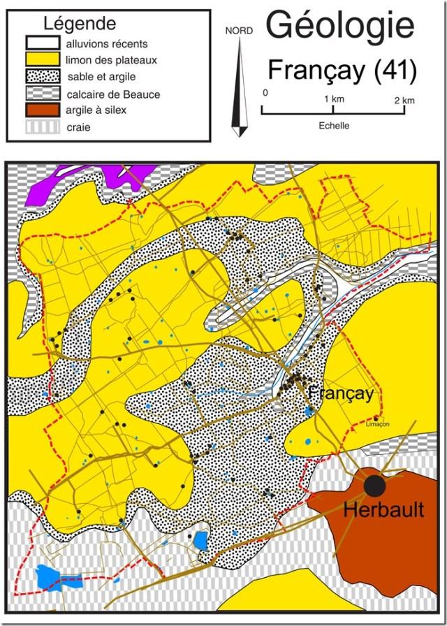 Géologie de la commune de Françay (Loir-et-Cher ; 41)