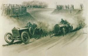 1907 Lorraine-Dietrich de Grand Prix de l'ACF Arthur Duray et Fiat la bataille de Vincenzo Lancia pour les honneurs, par Peter Helck, fusain et l'encre et rehauts de blanc