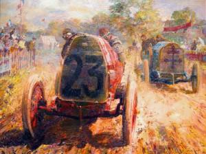 Le célèbre pilote français Louis Wagner sur le géant Fiat S74 leader Lorraine-Dietrich de René Hanriot dans le Grand Prix 1912 français, a tenu à Dieppe. Un